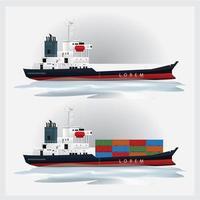 transporte de carga com conjunto de ilustração vetorial de contêineres vetor