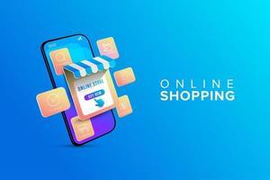 compras online com infográfico passo de compras vetor