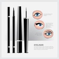 embalagem de delineador com tipos de conjunto de maquiagem para os olhos vetor
