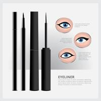 embalagem de delineador com tipos de maquiagem para os olhos vetor