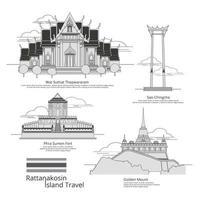 conjunto de ilustração vetorial de estilo de desenho de viagens bangkok vetor