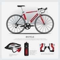 bicicleta com conjunto de ilustração vetorial acessório vetor