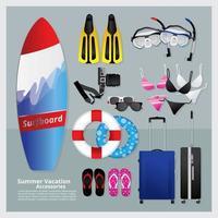 conjunto de elementos de férias de verão vetor