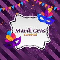 máscara tradicional de fundo de carnaval de mardi gras com penas e confetes para fesival e baile de máscaras e modelo de desfile para convite de design orflyer ou poste e banners vetor