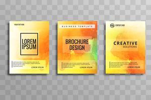 Belo conjunto de brochura de negócios em aquarela colorido vetor