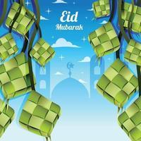 eid mubarak com modelo de ketupat e mesquita vetor