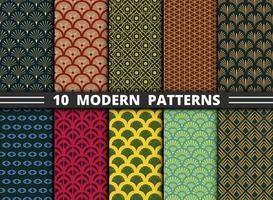 abstrato moderno estilo antigo padrão de colorido conjunto de fundo. vetor