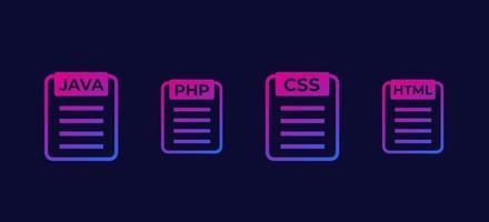 ícones vetoriais de código html java php css vetor