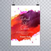 Feliz, holi, festival.holi, folheto, respingo, coloridos, aquarelas, ba vetor