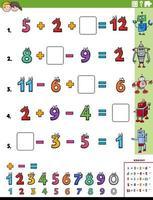 página de planilha de tarefas educacionais de cálculo matemático para crianças vetor