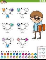 página de planilha educacional de cálculo matemático com comic boy vetor