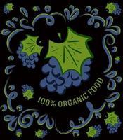 esta é uma ilustração vintage espetacular em um fundo escuro com uvas e a inscrição 100% alimentos orgânicos vetor