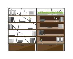 objetos de vetor de cor plana de armários de escritório