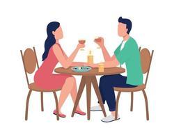 jantando juntos em um restaurante com personagens sem rosto vetor