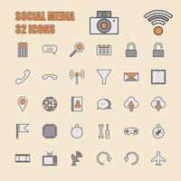 vetor de mídia social linha fina 64x64 pixel 32 conjunto de ícones