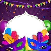 máscara tradicional de fundo carnaval com penas e confete para festa vetor