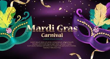 máscara tradicional de fundo de carnaval de mardi gras com penas e confetes para o fesival vetor
