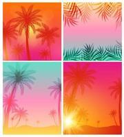 conjunto de coleta de fundo abstrato de verão com folhas de palmeira vetor