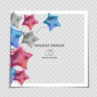 modelo de moldura de foto de feriado para festa com bandeiras para publicação na rede social vetor