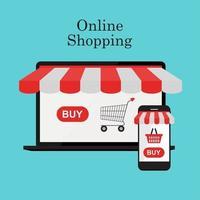 fundo do conceito de compras online vetor