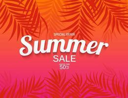 fundo abstrato de venda de verão com folhas de palmeira vetor