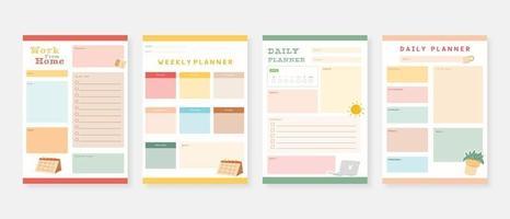 conjunto de modelo de planejador moderno conjunto de planejador e lista de tarefas, modelo de planejador diário semanal mensal vetor