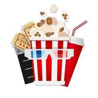 ícone do cinema com pipoca 3D, limonada e bilhetes vetor