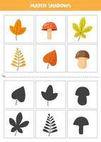 encontrar sombras de outono e cartas de cogumelos para crianças vetor