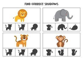 encontrar jogos de cartas de clipe de sombra para impressão corretos para crianças vetor