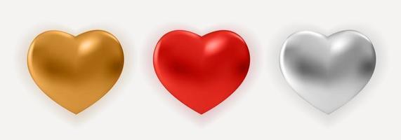 coração de metal brilhante vermelho realista vetor