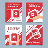 coleção mundial de cartões de doador de sangue vetor