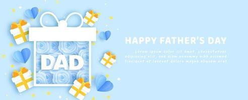 banner do dia do pai em estilo de corte de papel vetor