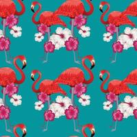 flamingo rosa floral sem costura design vetor