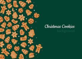 fundo de biscoitos de natal e pães de gengibre vetor