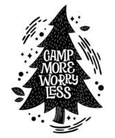 acampamento mais se preocupe menos frase de letras em formato de pinho vetor