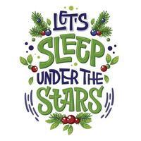 frase com letras de acampamento permite dormir sob as estrelas vetor