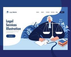 conceito de ilustração vetorial de serviços jurídicos vetor