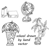 voltar para a escola em estilo doodle vetor