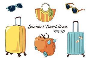 coleção de itens isolados de bagagem de viagem desenhada à mão vetor