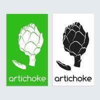 Modelo de ícone de logotipo de alcachofra em preto e branco vetor