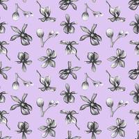 flores da orquídea em um padrão sem emenda de fundo lilás. vetor