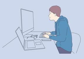 jovem programador concentrado em tecnologias de programação e codificação vetor