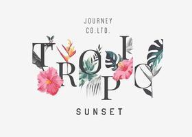 slogan tropical do pôr do sol com ilustração de flores tropicais vetor