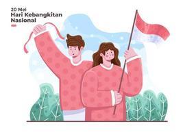 hari kebangkitan nasional indonésia 20 mei ilustração traduzir indonésia dia nacional do despertar 20 de maio ilustração independência indonésia e celebração do dia do despertar ilustração plana vetor