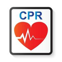 Ressuscitação cardiopulmonar cpr coração e imagem de eletrocardiograma ecg para suporte básico de vida e suporte cardíaco avançado de vida vetor