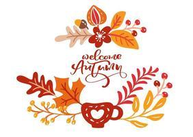cartão com texto bem-vindo outono. folhas de laranja de bordo, folhagem de outubro ou novembro, carvalho e bétula, pôster da temporada de outono ou banner vetor