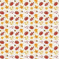 padrão sem emenda com bolotas, abóbora e folhas de carvalho de outono em laranja e marrom. perfeito para papel de parede, papel de presente, preenchimentos de padrão, plano de fundo de página da web, cartões de outono vetor