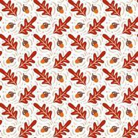 padrão sem emenda com bolotas e folhas de carvalho outono em laranja e marrom. perfeito para papel de parede, papel de presente, preenchimentos de padrão, plano de fundo de página da web, cartões de outono vetor