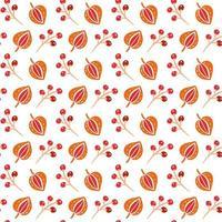 padrão sem emenda com folhas de outono e grãos nas cores laranja e marrons. perfeito para papel de parede, papel de presente, preenchimentos de padrão, plano de fundo de página da web, cartões de outono vetor