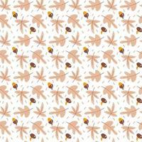 padrão sem emenda com bolotas, cogumelos e folhas de carvalho de outono em laranja e marrom. perfeito para papel de parede, papel de presente, preenchimentos de padrão, plano de fundo de página da web, cartões de outono vetor